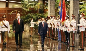 Bí thư Thứ nhất Đảng Cộng sản Cuba, Chủ tịch Cuba chủ trì Lễ đón Chủ tịch nước Nguyễn Xuân Phúc
